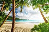 Sunset on the beach Takamaka, Mahe island, Seychelles — Stock Photo