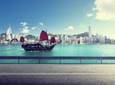Fictional road in Hong Kong harbour — Stock Photo