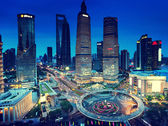 Shanghai night view from the oriental pearl tower  — Stock fotografie