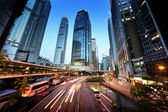 Traffic in Hong Kong at sunset time  — Foto Stock