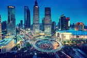 Shanghai night view from the oriental pearl tower  — Stock Photo