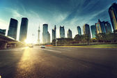 Road in shanghai lujiazui financial center — Stock Photo
