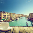 Coffee on table and Venice in sunset time, Italy — Stockfoto #50590061