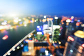 Bokeh of skyline at sunset time, Shanghai, China — Stock Photo
