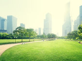 Park in  lujiazui financial centre, Shanghai, China — Stock Photo