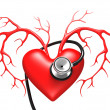 Red Heart with Stethoscope — Stock Photo