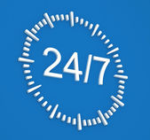 24-7 Clock Illustration — Stock Photo