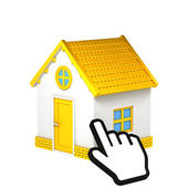 Simple Yellow Cottage with Hand Pointer — Stock Photo