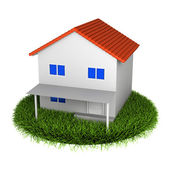 Simple House With Red Roof on Grass Plate (more buildings in my portfolio) — Stock Photo