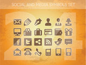 Social and media pictograms set isolated — Stock Vector