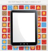 Schwarzes bild vektor tabletpc mit weißer bildschirm — Stockvektor