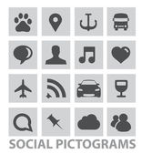 Abstract social pictograms symbols set isolated — Stock Vector