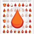 Постер, плакат: Medic creative blood drops symbols and sign