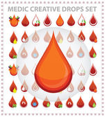 Medic creative blood drops symbols and sign — Stock Vector