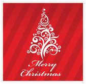 Feliz navidad saludo tarjeta roja de color — Vector de stock