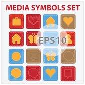 Web and media buttons collection with media — Stock Vector