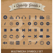 Pictogram multimedia symbols set — Vettoriali Stock