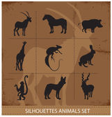 Abstract symbols of animals silhouette — Stock Vector