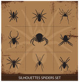 Spiders silhouettes vector collection — Stock Vector