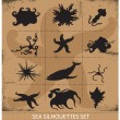 Royalty-Free Stock Immagine Vettoriale: Sea animals silhouettes underwater symbols set