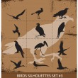 Birds  silhouettes vector symbols black color — Stock Vector