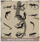 Big collection of vector reptiles silhouettes — Stock Vector