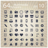 Technology multimedia symbols set — Vettoriale Stock