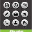 Stock Vector: Web office circle pictogram symbols
