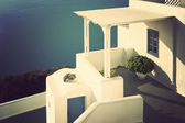 Patio in Santorini, Greece. Vintage style. — Stock Photo