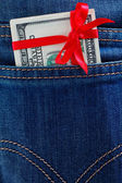 Dollars in a jeans pocket — Stock Photo
