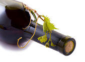 Bottle wine, grape and corks — Stock Photo