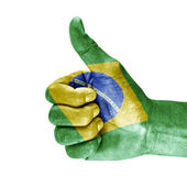Flag Of Brazil and thumb up — Stock Photo
