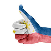 Philippines Flag On thumb up Hand — Stock Photo