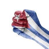 Flagga kuba knutna näve å — Stockfoto