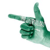 Saudi Arabia Flag On Hand — Stock Photo