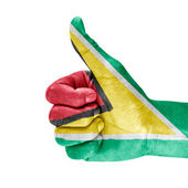 Flag Of Guyana On Thumb Up Hand — Stock Photo