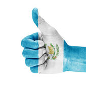 Flag Of Guatemala On Thumb Up Hand — Stock Photo