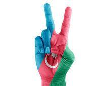 Flag of Azerbaijan On Hand — Stock Photo