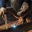 Worker welding steel  — Stock Photo