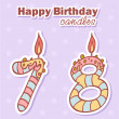 Birthday candles nubmer figures set - Stock Vector