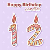 Birthday candles nubmer figures set — Stock Vector
