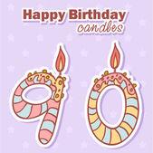 День рождения свечи набор цифры nubmer — Cтоковый вектор