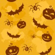 Stock Vector: Halloween pumpkins, bats and spiders seamless background