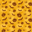 Vector de stock : Halloween pumpkins, bats and spiders seamless background