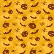 Halloween zucche, pipistrelli e ragni seamless sfondo — Vettoriale Stock