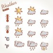 Retro weather icons hand drawn — Stockvektor