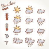 Retro weather icons hand drawn — Stock Vector