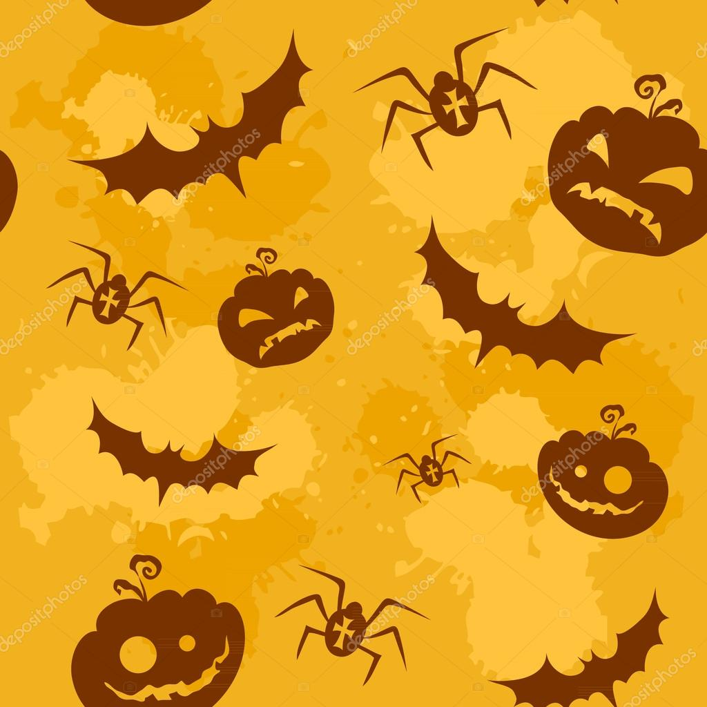 Halloween pumpkins, bats and spiders grungy seamless background — 图库矢量图片 #12726864
