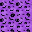 图库矢量图片: Halloween pumpkins, bats and spiders seamless background