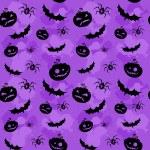 Halloween pompoenen, vleermuizen en spinnen naadloze achtergrond — Stockvector